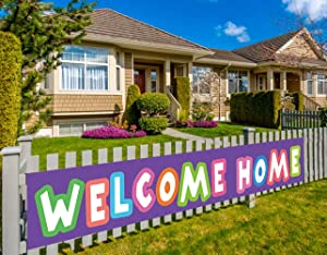 Colormoon Large Welcome Home Banner, Homecoming Party Decorations, Housewarming Party Decorations, Military Homecoming, Return Party Sign (9.8 x 1.5 feet)