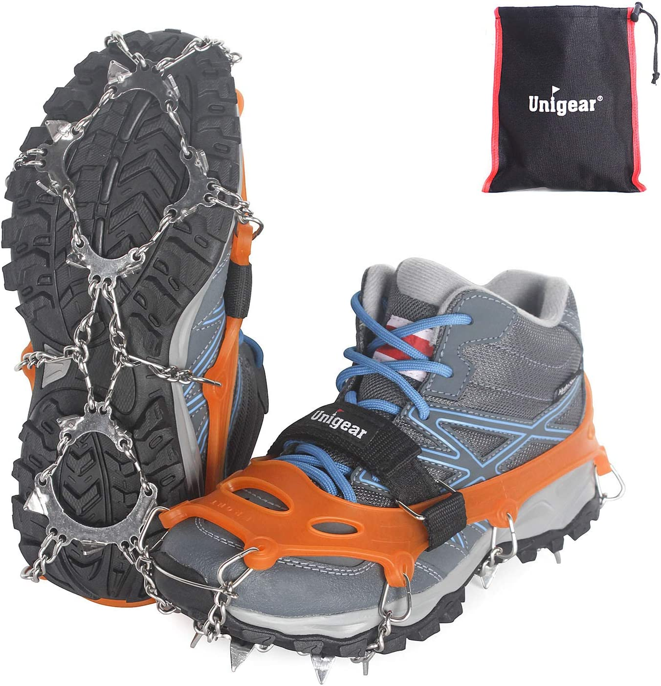 Unigear Ice Traction Cleats, Crampons Snow Cleats for Walking, Jogging, Climbing and Hiking, Youth or Kids