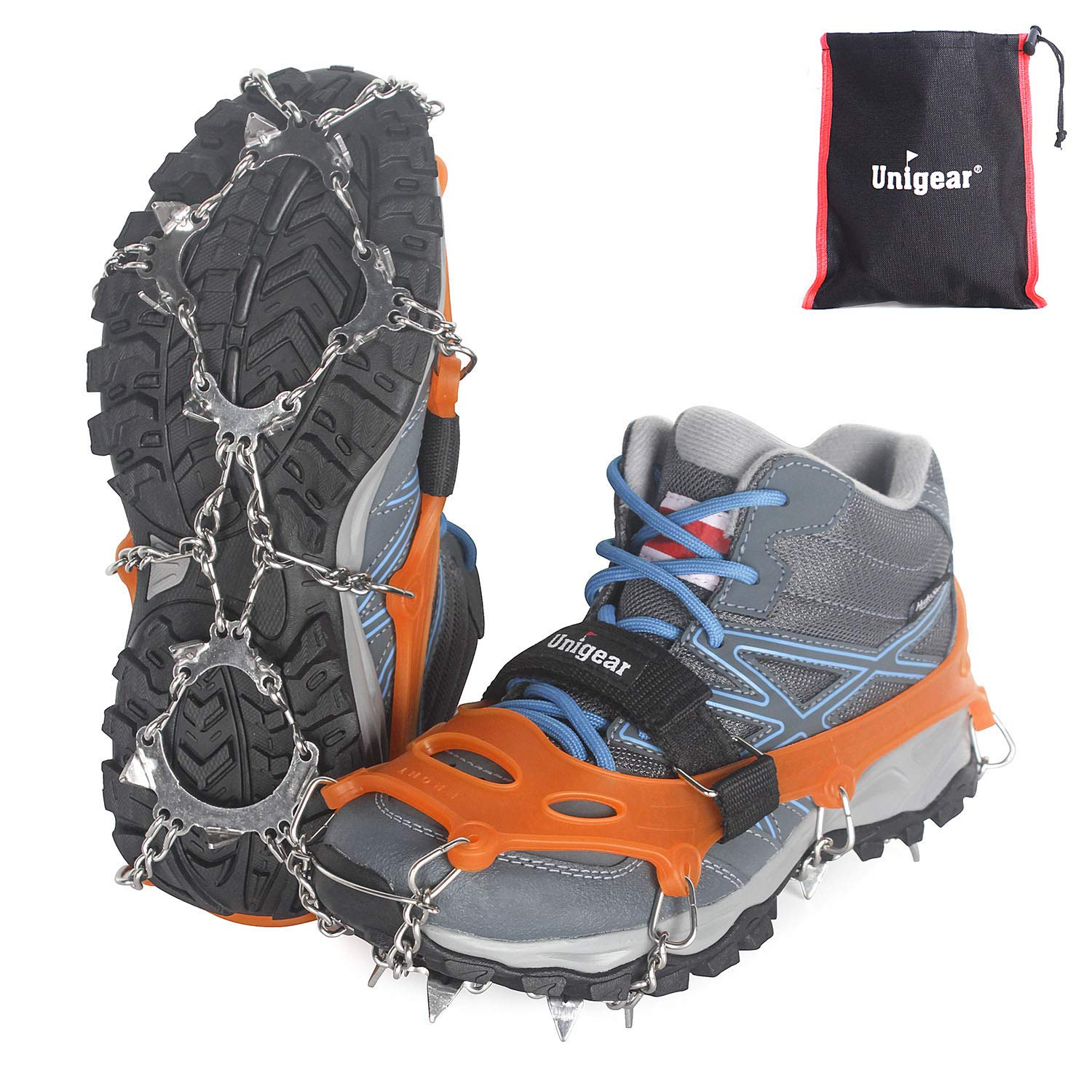 Unigear Traction Cleats Ice Snow Grips with 18 Spikes for Walking, Jogging, Climbing and Hiking (Orange (13 Spikes), Small) by Unigear