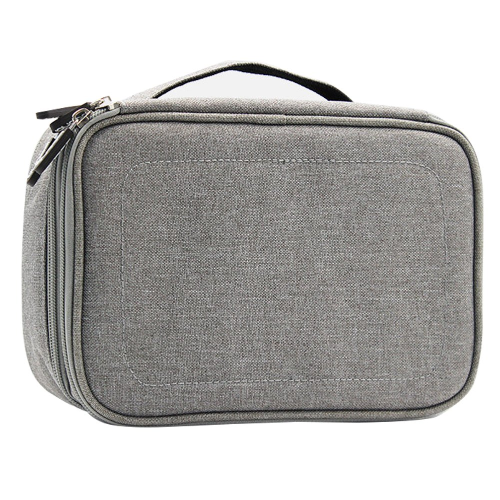 Double Layer Travel Universal Cable Organizer Cases Electronics Accessories Storage Bag for Various USB, Mouse, Earphone,Cable and Charger #81429 (Grey)