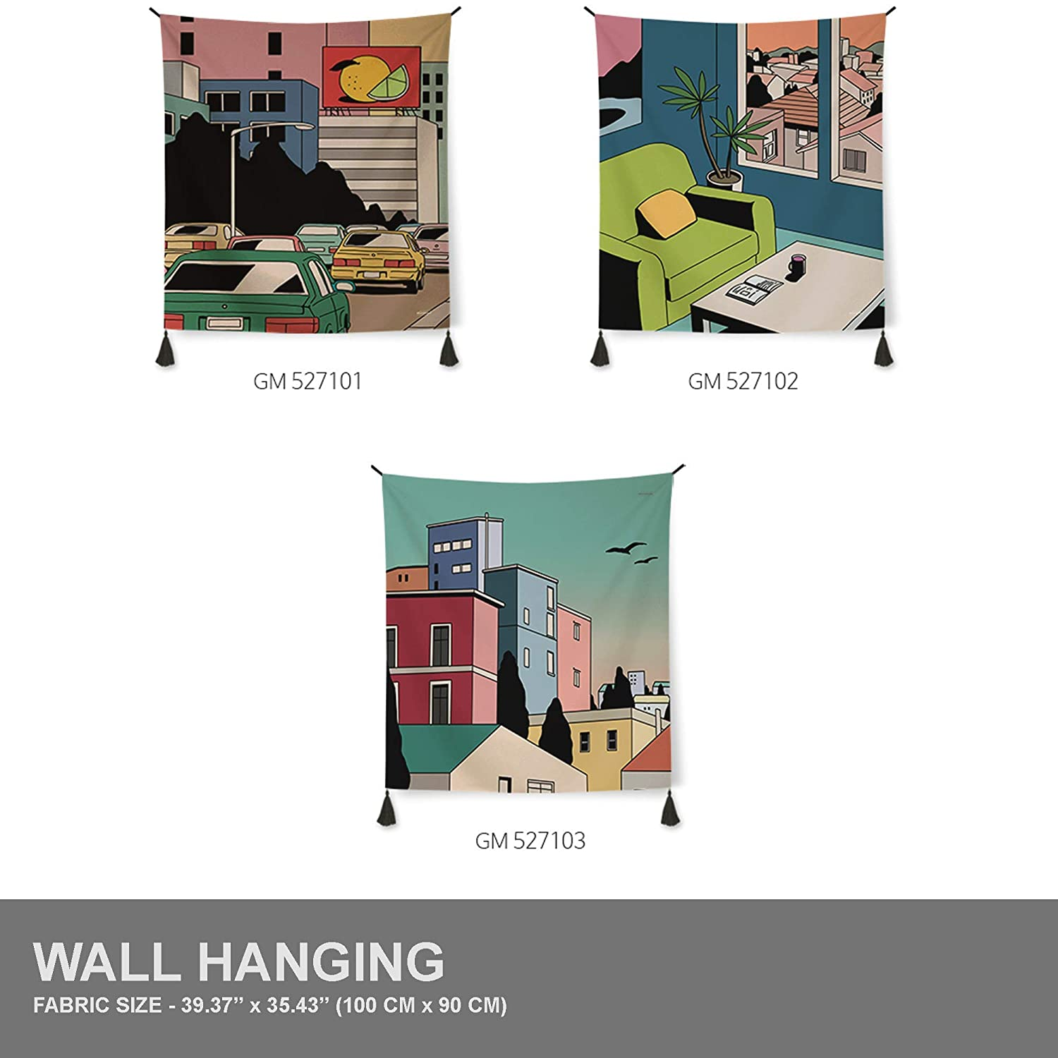 3 Size Types Tapestry Wall Hanging 3 Designs Old Style Illustration Art Collection Town