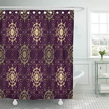 Starosa 72quotx72quot Shower Curtain Waterproof Home Decor Purple Brown And White Colors With