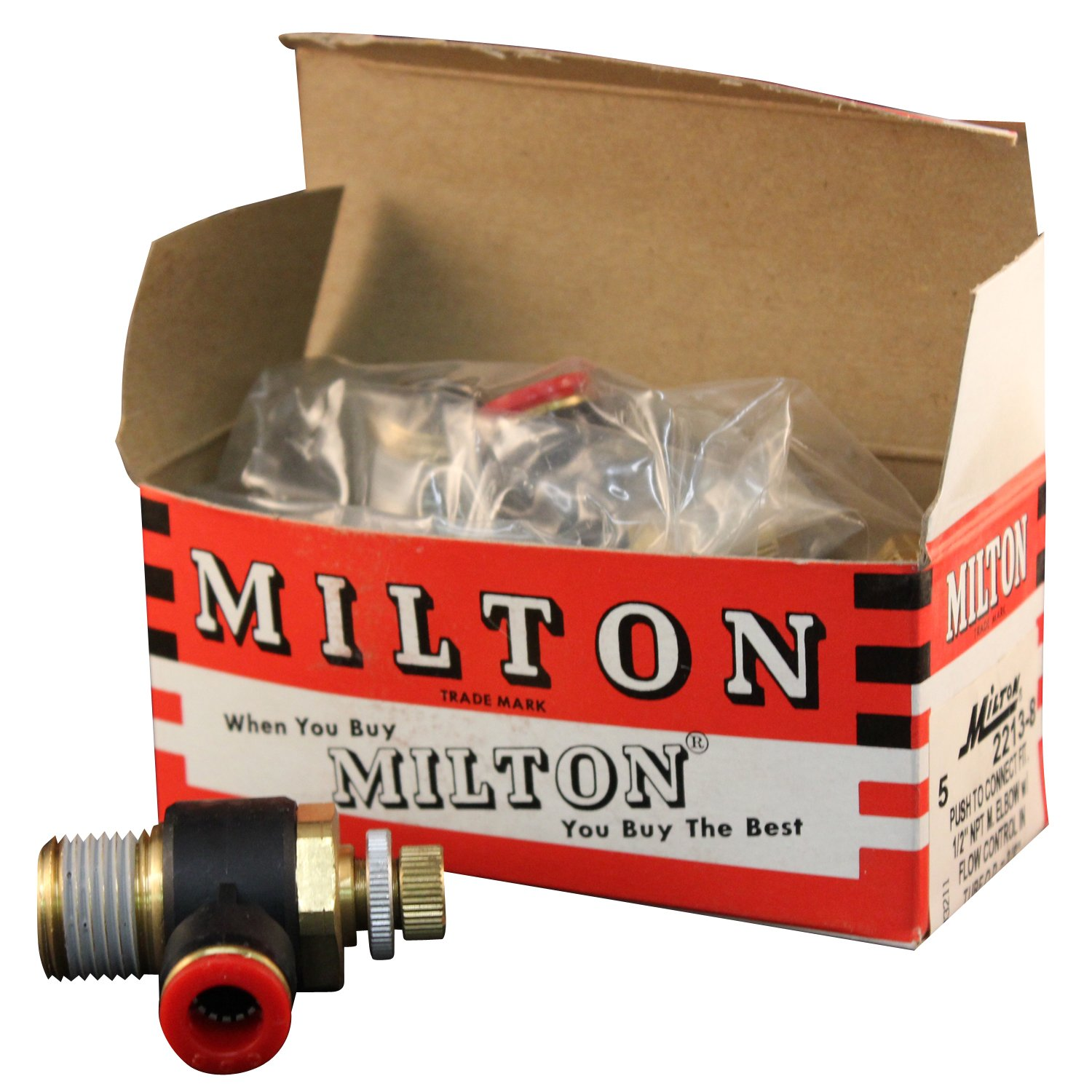 Milton 2213-8 1/2'' MNPT 3/8'' OD Push to Connect Meter In Flow Control - Box of 5 by Milton Industries (Image #2)