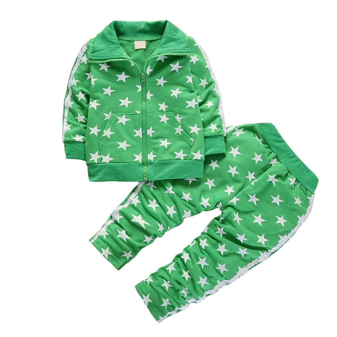 Children Clothing Sets 2pcs Coat+Pants Fashion Stars Baby Boy Sport Suit Kids Autumn Tracksuit Green 4t