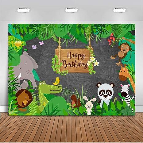 Mehofoto Safari Cumpleaños Telón de fondo 7x5ft Selva Safari Feliz cumpleaños Telones de fondo para Fotografía Animal Mundo Primavera Bosque ...