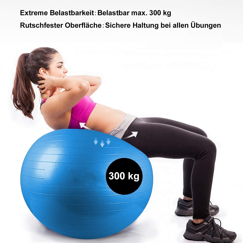 wolketon Pelota de Ejercicio 65cm 75cm 85cm Bal/ón Pilates Anti-Burst Yoga Ball con Bomba Yoga Ball