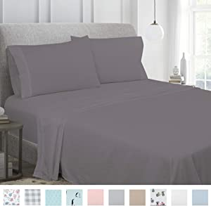 Royale Linens Soft Home 1800 Luxury Series Solid Color Brushed Microfiber - Wrinkle, Fade, Stain Resistant - Hypoallergenic 4 Piece Sheet Set (Queen, Charcoal Grey)