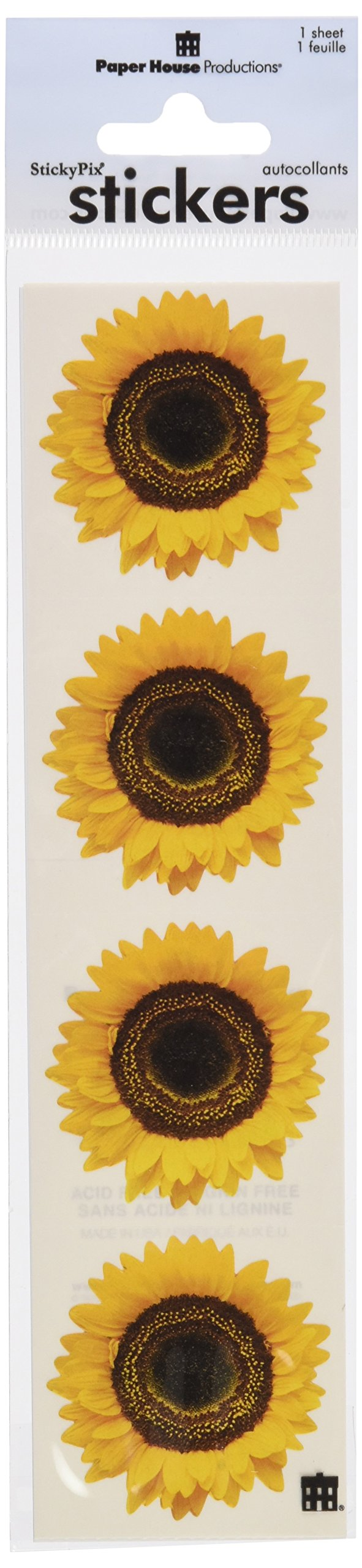 Paper House Productions ST-2009E Photo Real Stickypix Stickers, 2-Inch by 4-Inch, Sunflower (6-Pack)