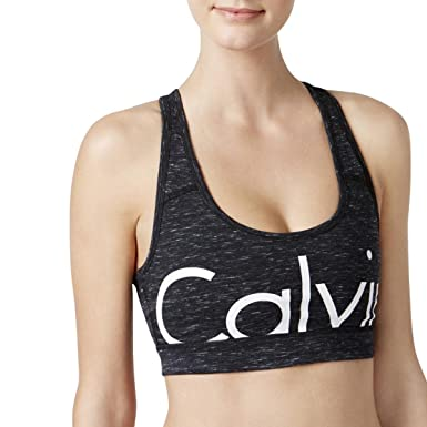 f8ef72dfd4 Calvin Klein Performance Womens Logo Low Impact Sports Bra B W M Black White