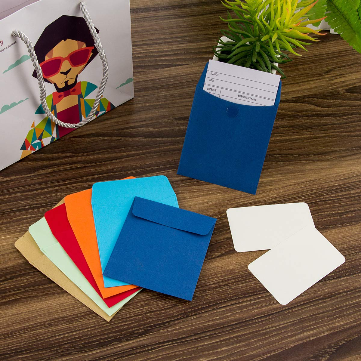 Kids Personal Gift,16 Assorted Colors 160 Pack Kraft Mini Envelopes Colorful Self Sealing Packets Envelopes with 160 Pieces Adhesive Double Sided Glue Points for Business Card 4x 2 Love Notes Card