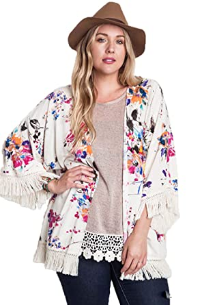 771038db0d7 Umgee Women's Floral Watercolor Kimono (XL, Ivory Multi) at Amazon Women's  Clothing store: