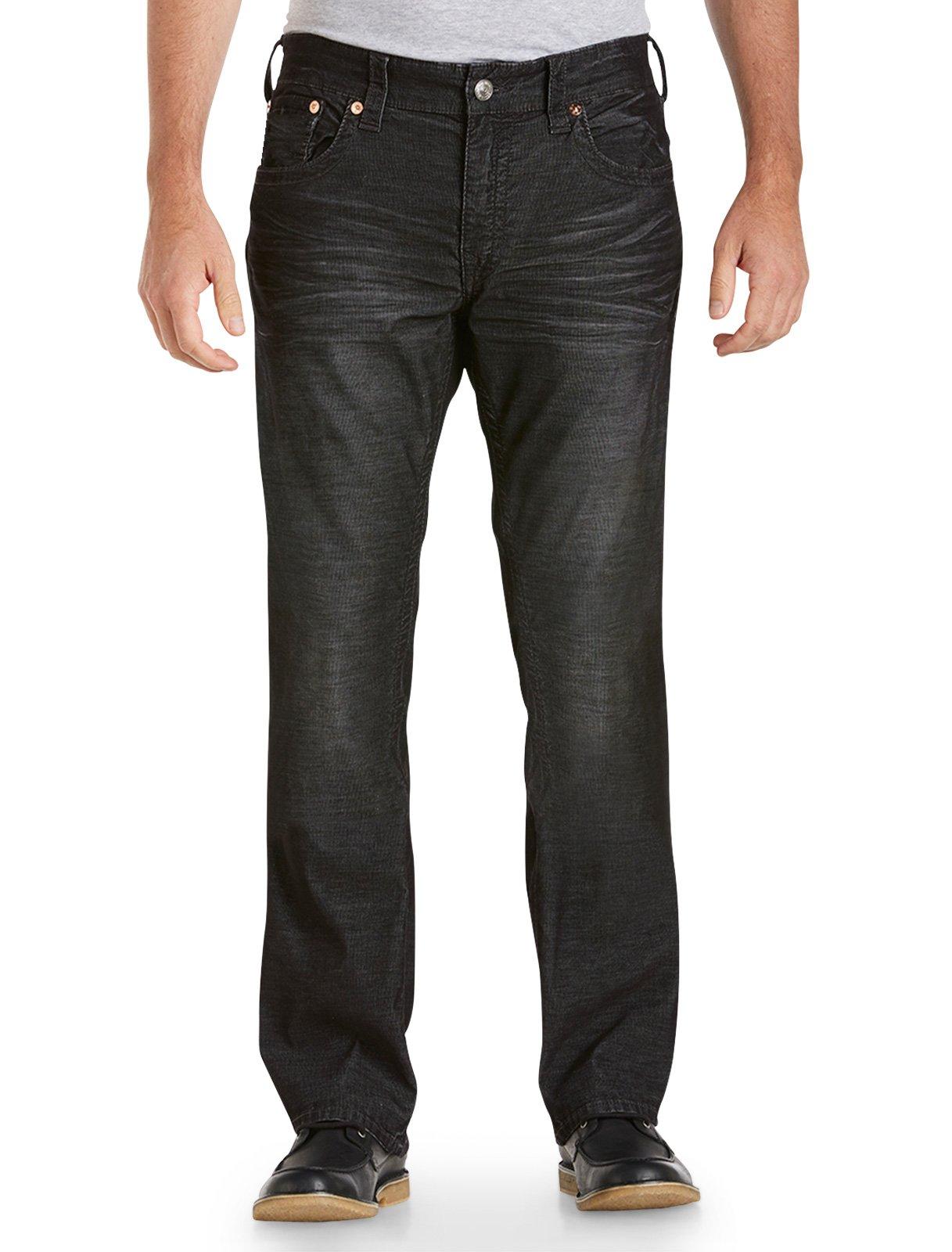 True Religion Big and Tall Bobby Straight Fine - Wale Corduroy Jeans (42 X 34, Black)