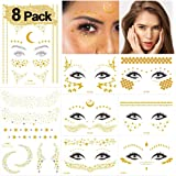 Halloween Face Temporary Tattoo Sticker Freckle Sticker Face Gold Glitter Metallic Water Transfer Tattoo for…