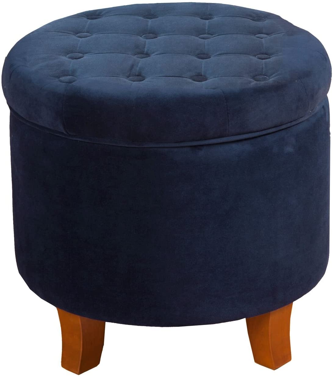HomePop Velvet Button Tufted Round Storage Ottoman with Removable Lid, Navy