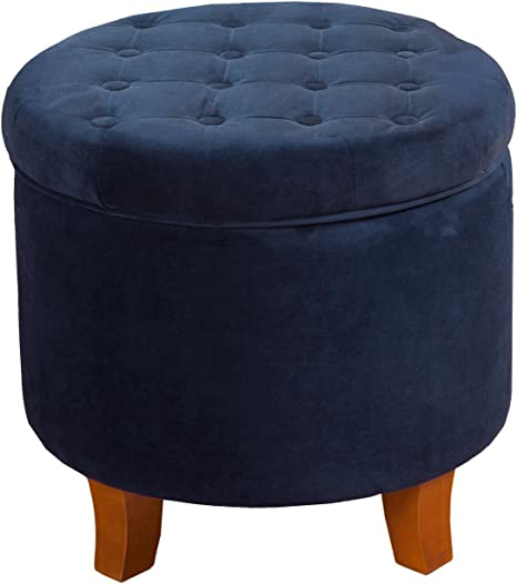 Homepop By Kinfine Fabric Upholstered Round Storage Ottoman Velvet Button Tufted Ottoman With Removable Lid Navy Furniture Decor