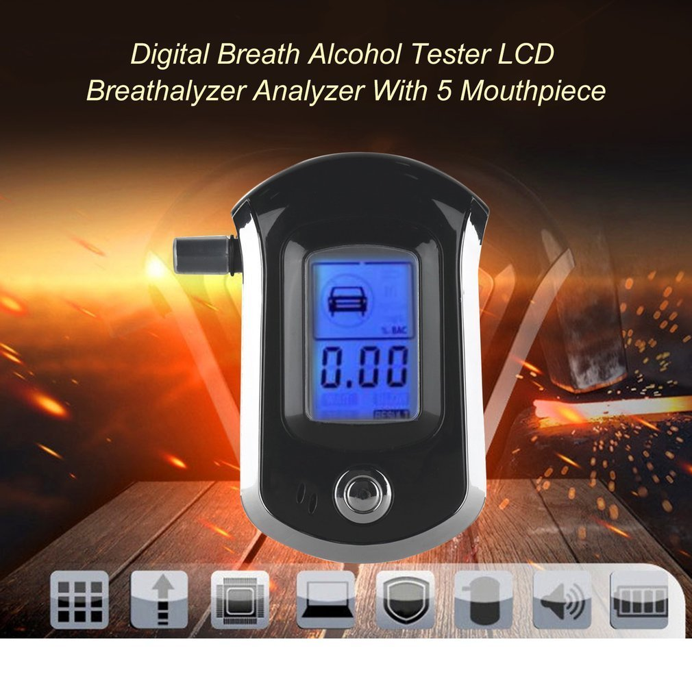 Portable Breath Alcohol Tester Professional Digital Breathalyzer LCD Display Alcohol Detector with 5pcs Mouthpieces for Police Alcohol Parking Breathalyser Topchances