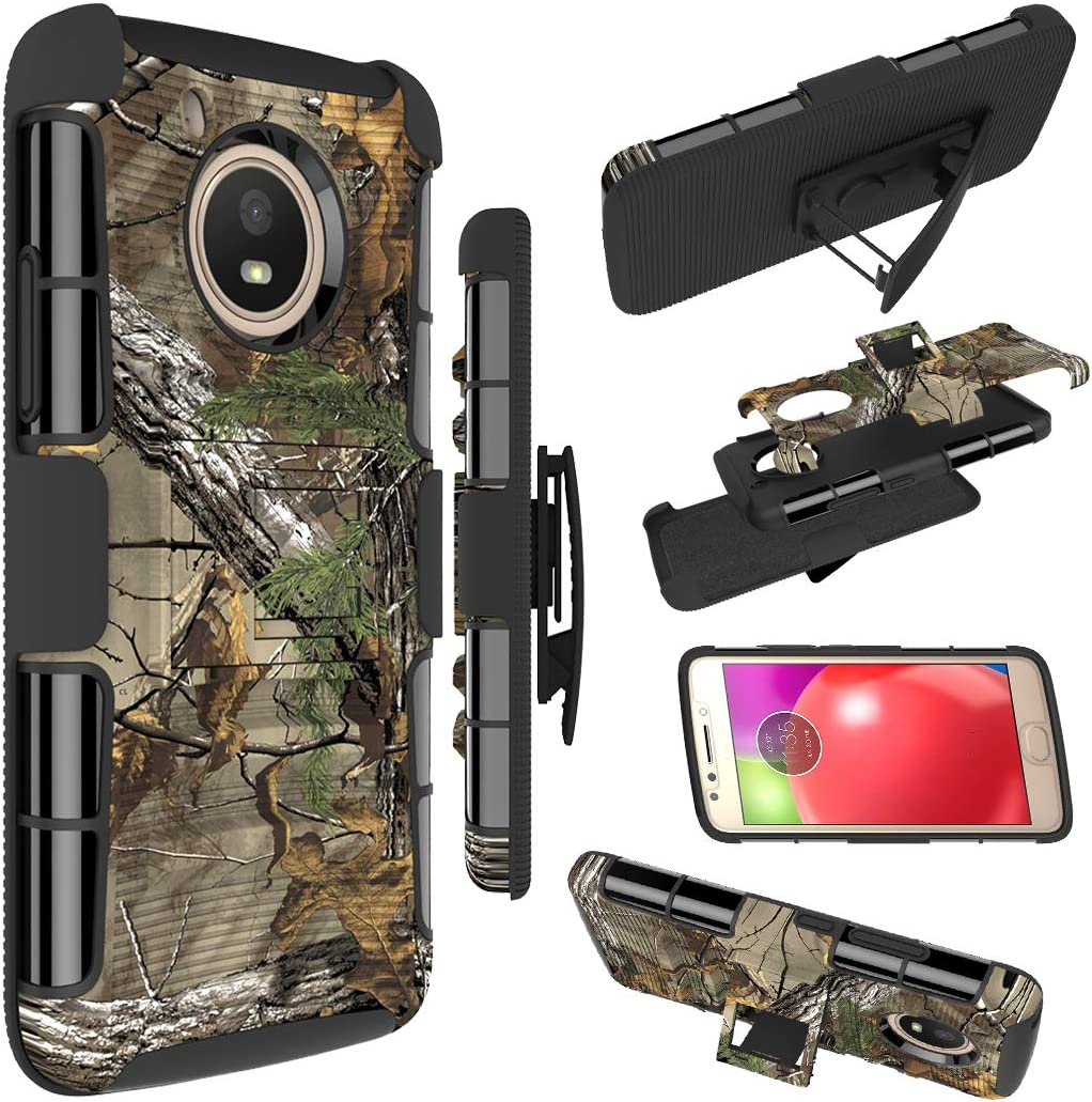 Zoeirc Moto E4 Case, [Heavy Duty] Armor Shock Proof Dual Layer Phone Case Cover with Kickstand & Belt Clip Holster for Motorola Moto E4 / Moto E (4th Generation) (camo)