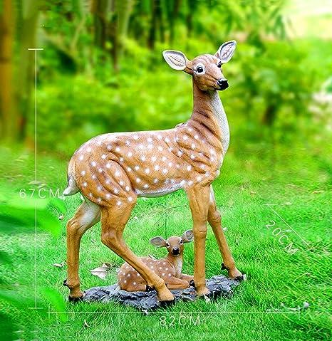 WEN Jardín de Esculturas Decoración Simulación Ciervos de Sika Decoración Villa Animal al Aire Libre Patio jardín del Paisaje de Oficios (Color : B): Amazon.es: Hogar