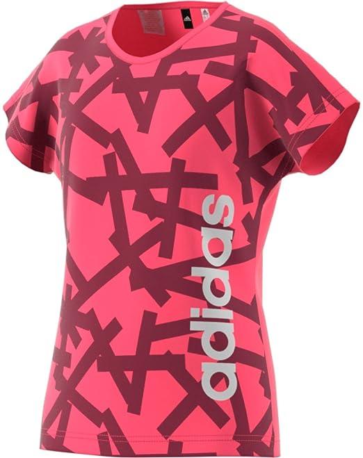 adidas Mädchen Yg Linear Tee Hemd