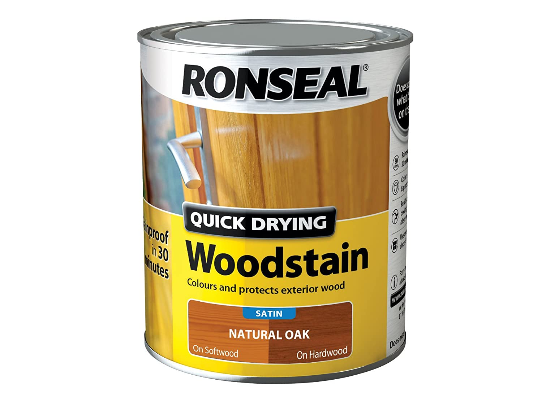 Ronseal QDWSE250 250 ml Satin Finish Quick Dry Woodstain - Ebony