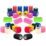 "2"" Vet Tape Wrap Bulk, Self Adherent Wrap Tape, Self Adhering Stick Bandage, Self Grip Roll - Black, Blue, Brown, Fuchsia, Hunter Green, Neon Green, Neon Pink, Purple, Red, Teal, White, or Assorted Colors (2"" inches Wide x 15' Feet Long) - (6 Rolls, 12 Rolls, 18 Rolls, or 24 Rolls)"