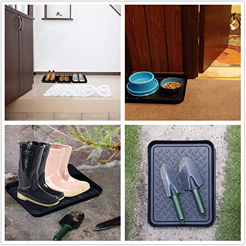 Boot Mat Tray for Floor Protection,3 Pack Black Shoe Tray,Boot Drying Mat w Lip, Dirt Rug, Dog Water Mat Litter Box ray,Garden Garage-Indoor Outdoor Black