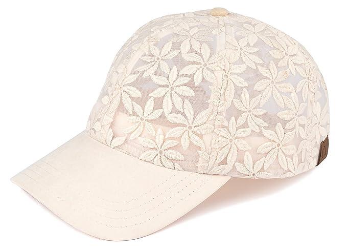3bf030031fa H-6053-60 Floral Print Baseball Cap - Sheer Daisy (Beige) at Amazon ...