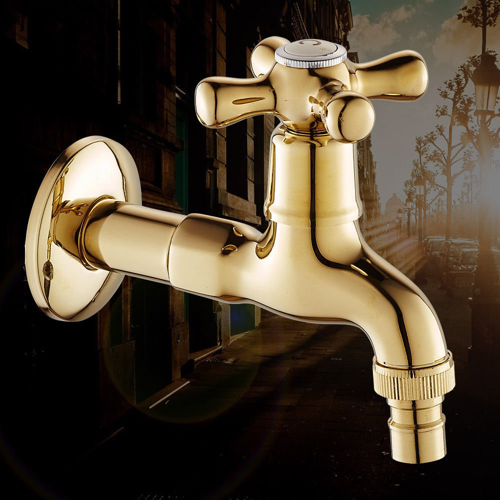 Home Tap Goldene Waschmaschöne Wasserhahn Kupfer 4 Punkte einzelne kalte schnelle Wasserdüse in die Wand langen Wasserhahn verdickt verGoldeten Wasserhahn