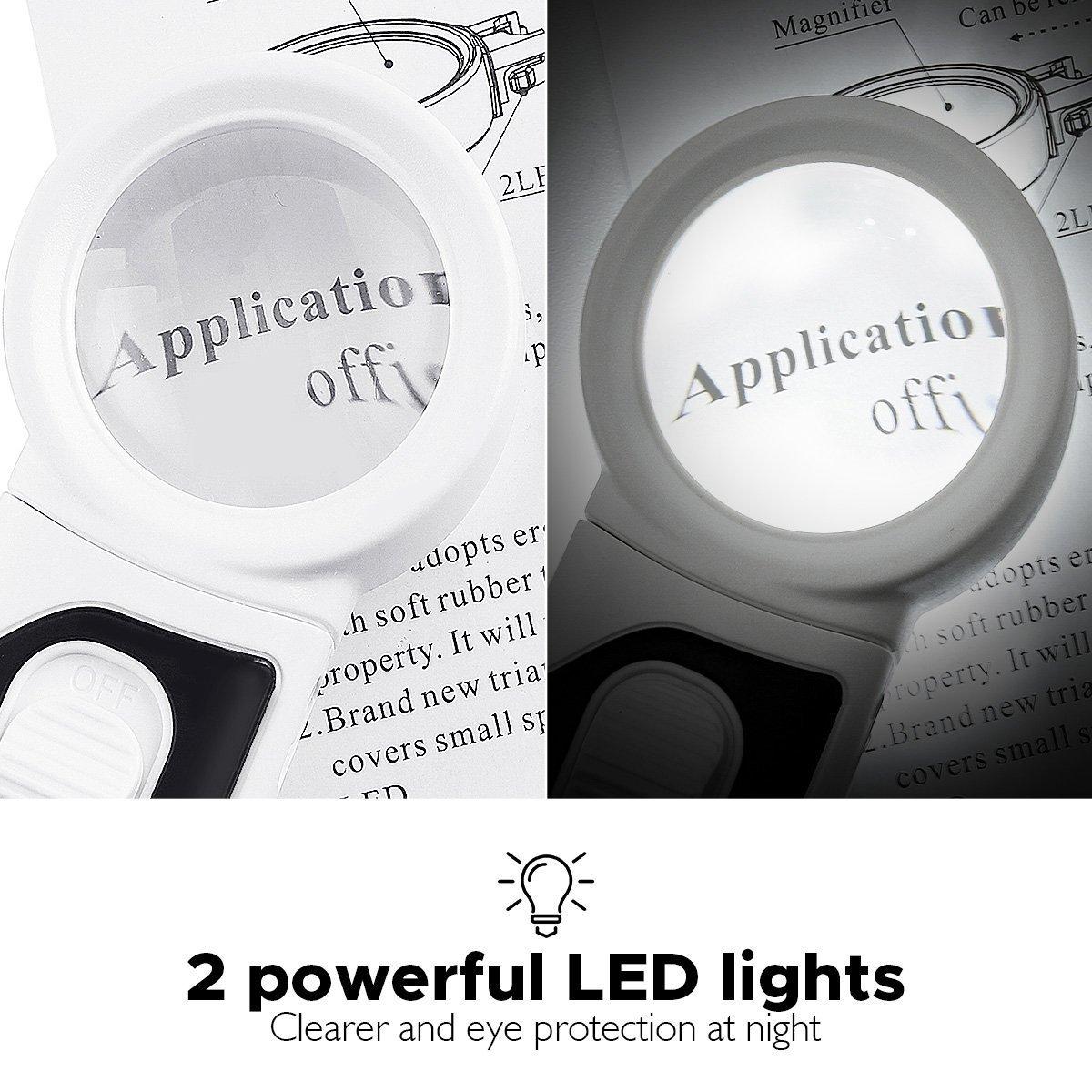 lente dingrandimento con luce per anziani e bambini appre Lente di ingrandimento da lettura con lente Lich Tvird ingranditore ingrandimento 2,5X 5X 16X lente dingrandimento portatile per giornali