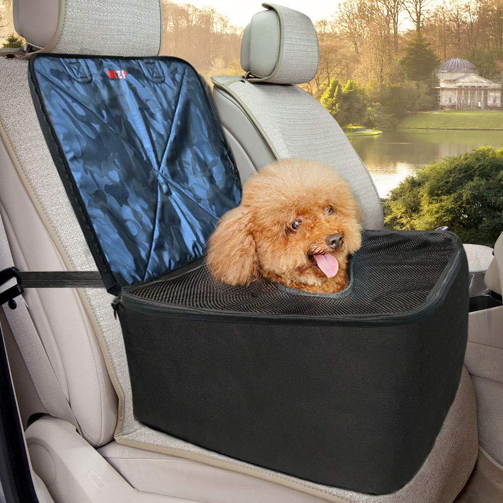 WLZP Hunde Autositz, 3 in 1 Hund Autositzbezug mit EinstellbarInterceptMesh,RutschfesterWasserdichter Single Front Seat, Verstärkung Hund Sitzbezug Geeignet fürKleineHunde und Katzen