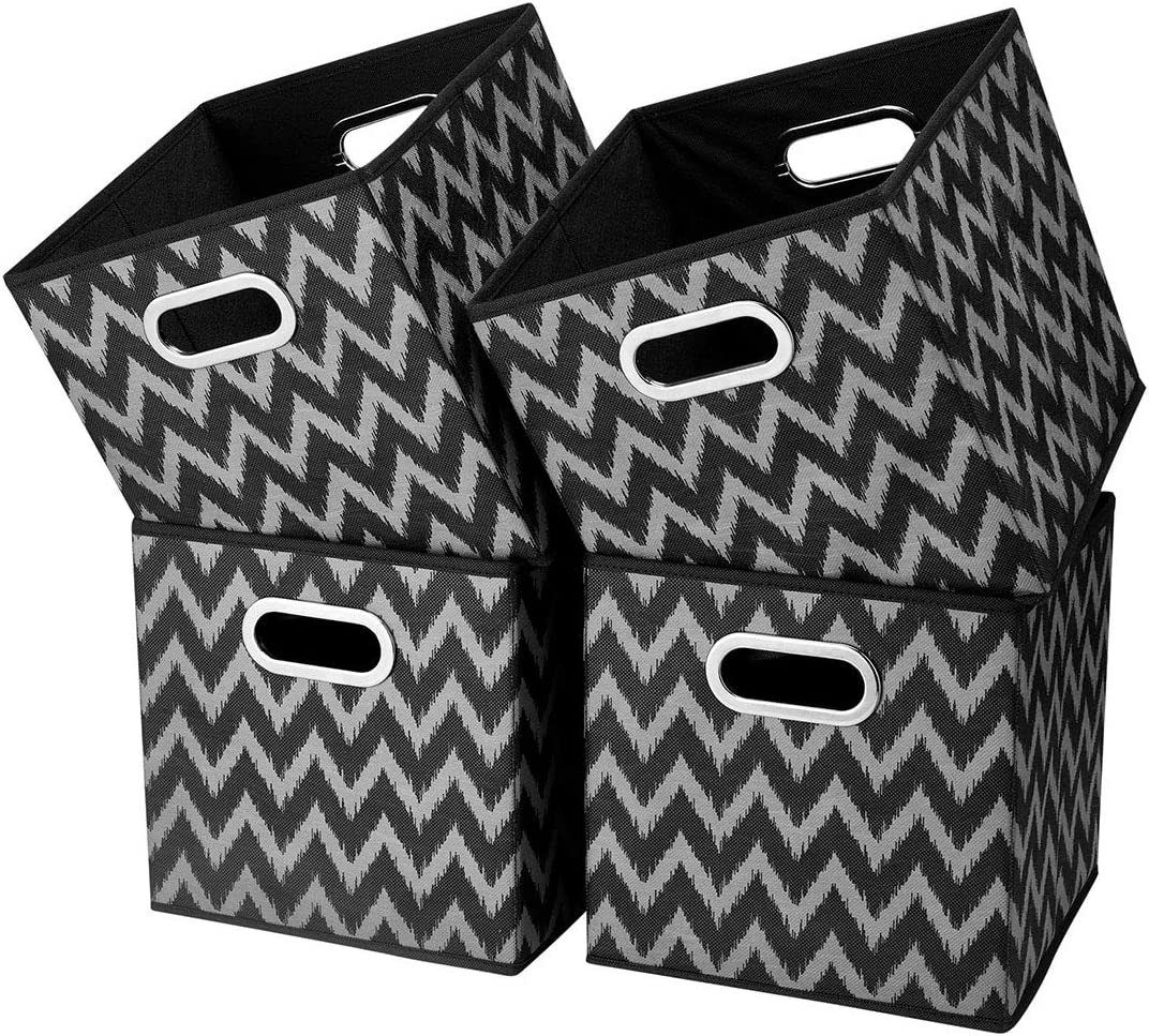i BKGOO Cloth Storage Bins Set of 4 Thick Fabric Drawers Foldable Cubes Basket Organizer Container with Dual Metal Handles for Shelf Cabinet Bookcase Boxes Grey-Black 10.5x10.5x11 inch