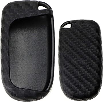 Black Silicone Protective Key Fob Cover for Jeep Dodge Chrysler 4 Button Car Key kwmobile Car Key Cover for Jeep Dodge Chrysler