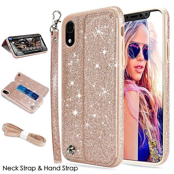 buy online 9d6d3 af85c iPhone XR Case, iPhone XR Wallet Case, CASEOWL iPhone XR Case Wallet Faux  Leather Flip Card Slot Holder,Wristlet,Neck Strap,Kick-Stand,Shockproof ...
