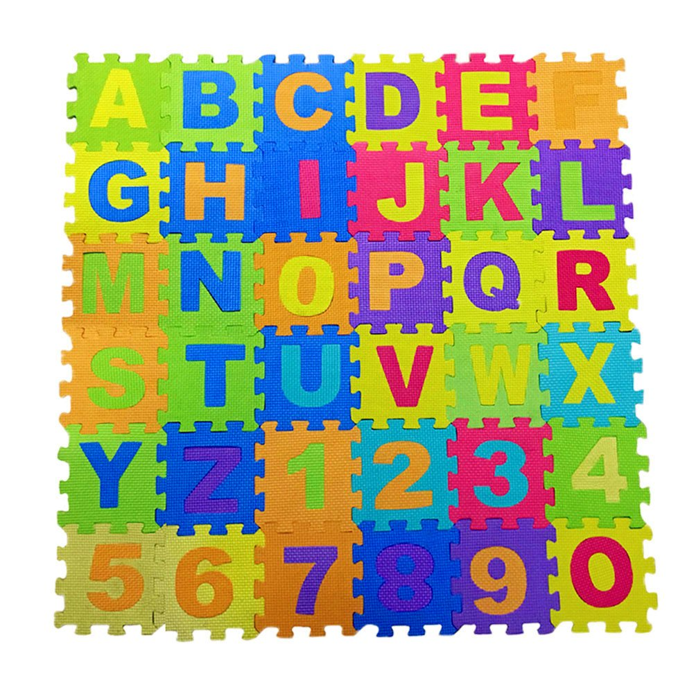 Alphabet and Numbers Foam Puzzle Play Mat,NON-TOXIC EVA 36 Piece Multi-Color Children Play & Exercise Mat By Chuanyue