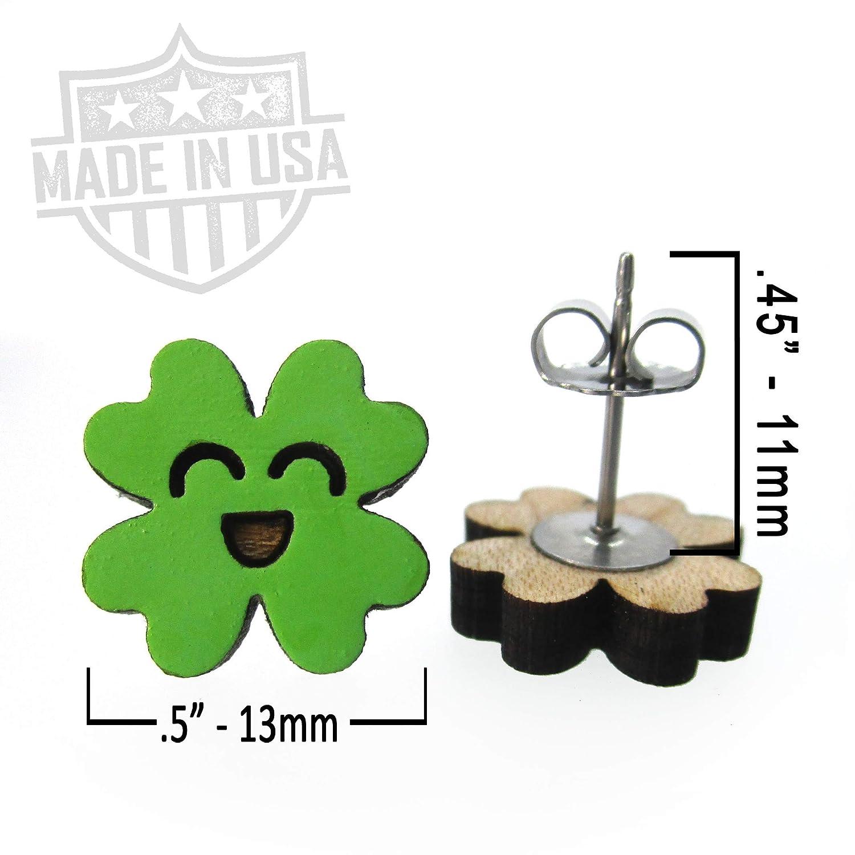 Cute Little Lucky Four Leaf Clover Stud Earrings Saint Patricks Day Green Earrings