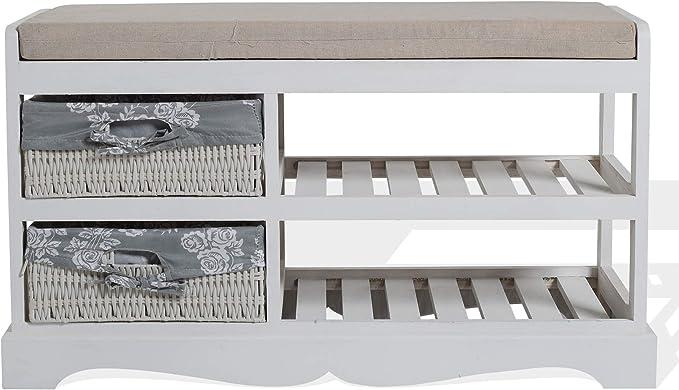 Rebecca Mobili Banco Organizador Entrada con 2 cajones, Asiento para Dormitorio, Madera y Mimbre, Estilo Shabby, Blanco.- Medidas: 46 x 80 x 33 cm (AxANxF) - Art. RE4020: Amazon.es: Juguetes y juegos