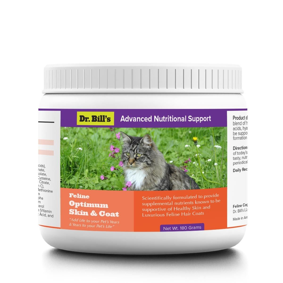 Dr. Bill's Feline Optimum Skin & Coat Pet Supplement - With Type I & III Marine Collagens and Omega 3 Fatty Acids