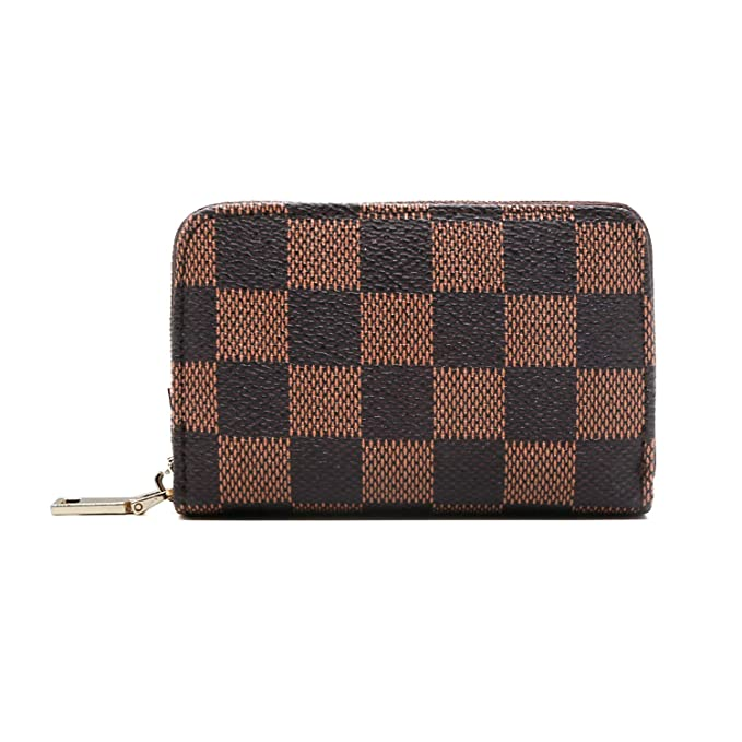 RFID Blocking with Phone Clutch//Card Holder//Cash Organizer for Men Women brown Miracle Checkered Zipper Around Wallet Blended Cowhide Leather