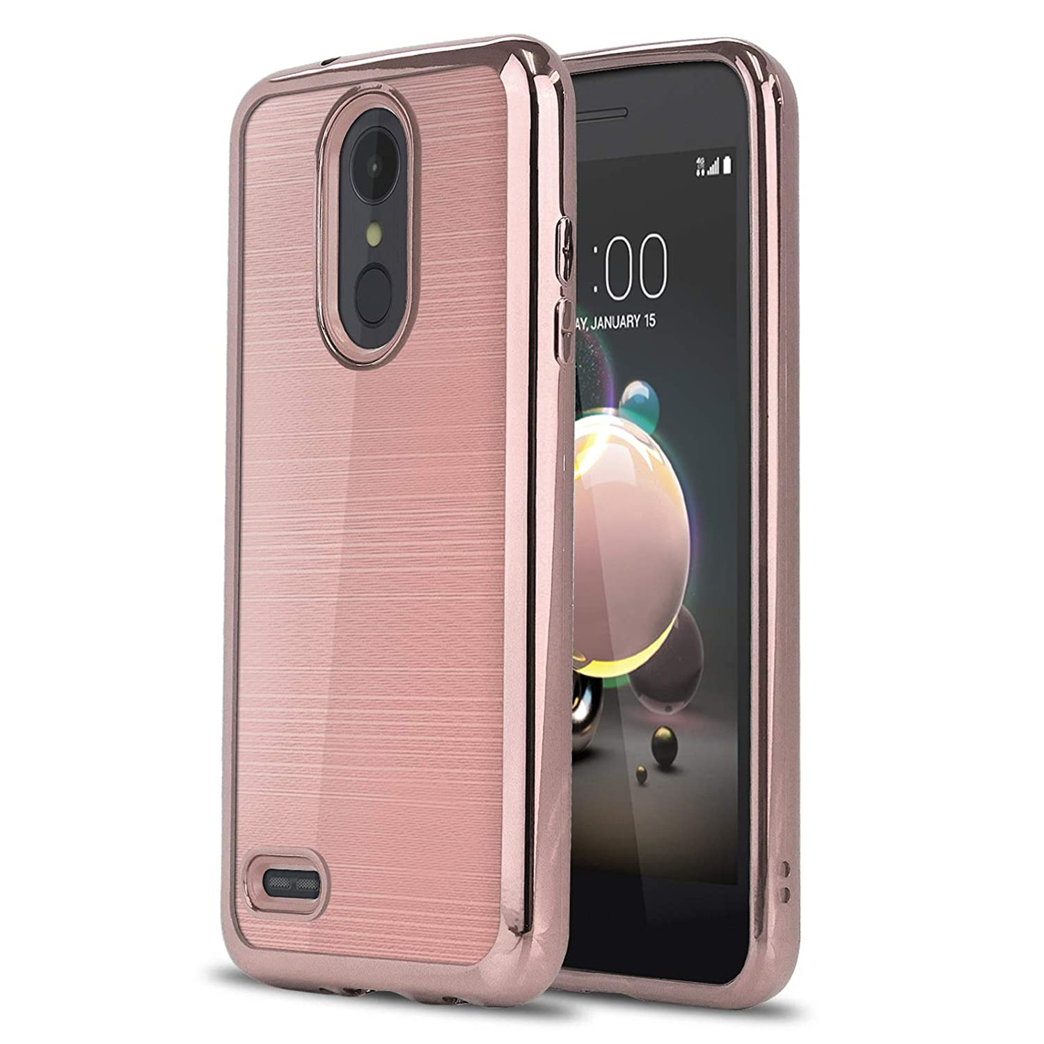 Phone Case for [LG Phoenix 4 / LG Phoenix 3 (AT&T)], [Chrome Series][Rose  Gold] Shockproof Soft TPU Rubber [Electroplated Bumper] Cover for LG  Phoenix