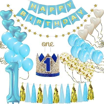 Amazon.com: Geggur 1er cumpleaños decoración bebé niño feliz ...
