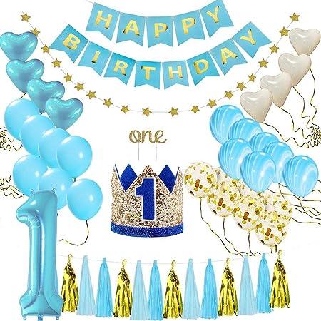 Decoración de Cumpleaños 1 año Globos Happy Birthday Bandera Balloons Partido Suministros para Bebé Niño Príncipe Azul Tema