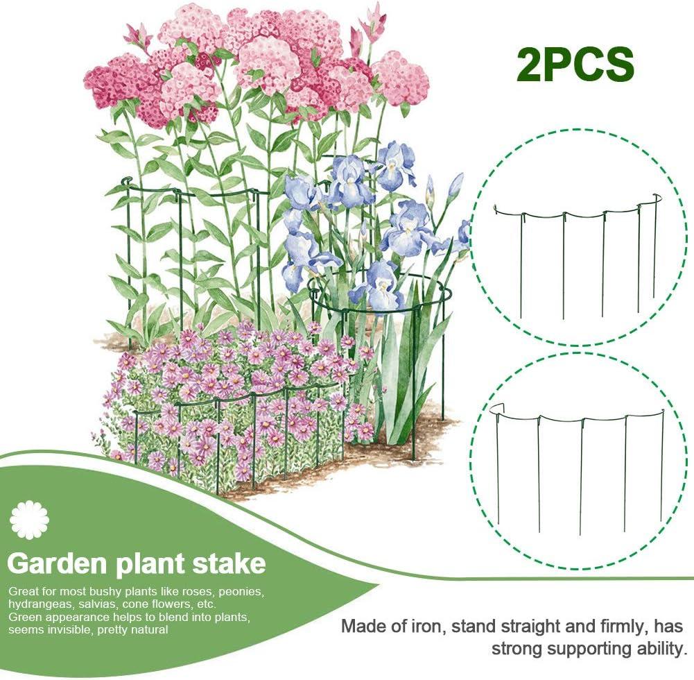 40 cm Free Size FADDARE Lot de 2 Barres de Support en m/étal pour Plantes avec Cage /à Anneaux pour Roses