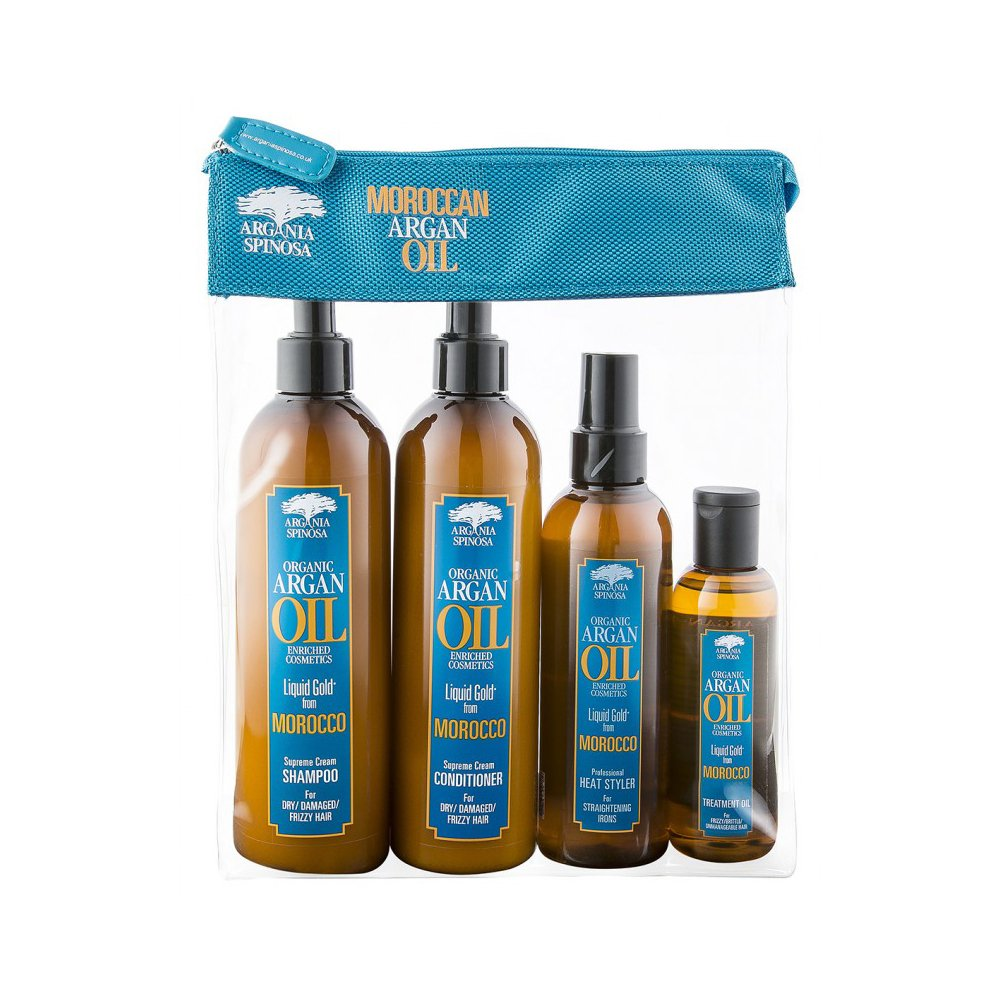 Argania Spinosa Moroccan Organic Argan Oil 4PC Bag Set Gift - Shampoo, Conditioner, Heat Styler, Treatment Oil
