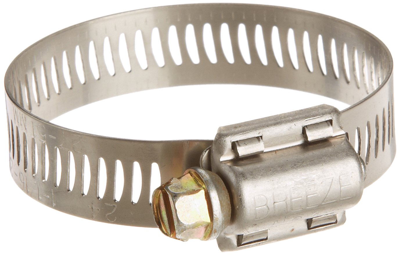 "Breeze Power-Seal Stainless Steel Hose Clamp, Worm-Drive, SAE Size 24, 1-1/16"" to 2"" Diameter Range, 1/2"" Bandwidth (Pack of 10)"