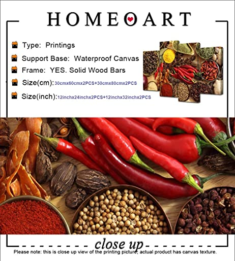 HOMEOART Food Art Kitchen Decor Herbs and Spices Picture Canvas Prints Restaurant Dining Room Wall Art Stretched Gallery Wrap