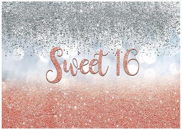 Allenjoy Sweet 16 Rose Pink Silber Bokeh Glitzer Kamera