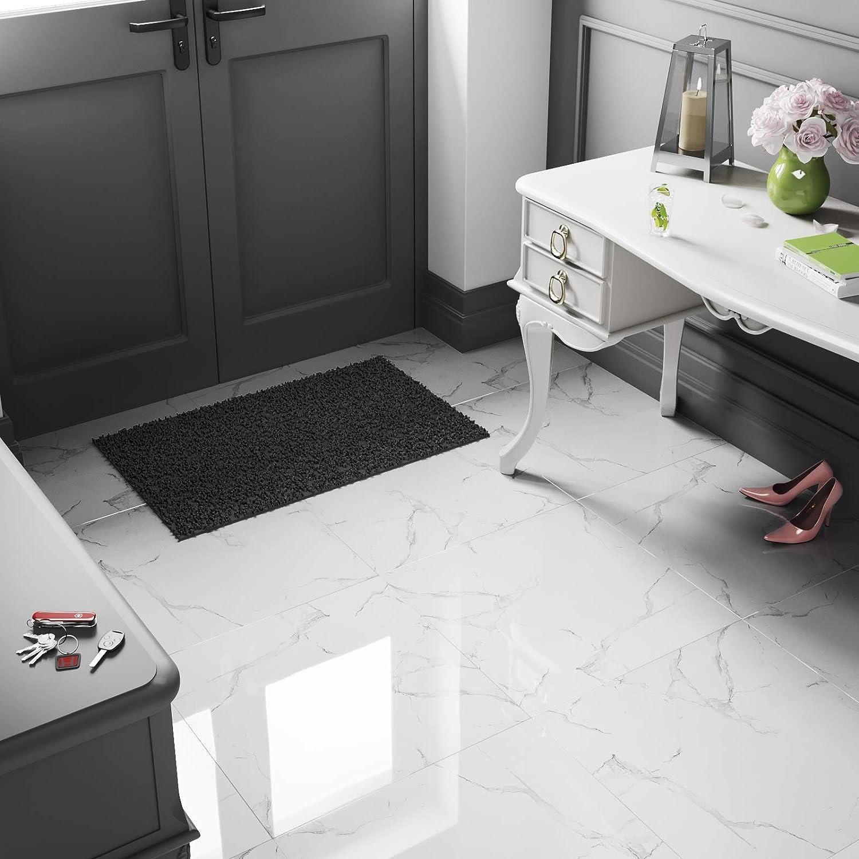 SAMPLE Home, Furniture & DIY Medium Grey Marble Effect Polished Porcelain Wall & Floor Tiles