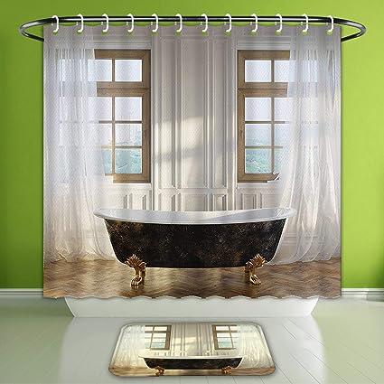 Amazon Com Waterproof Shower Curtain And Bath Rug Set