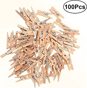Pixnor Wood Clothespins with Spring, 100-Pack, 0.98-inches Length