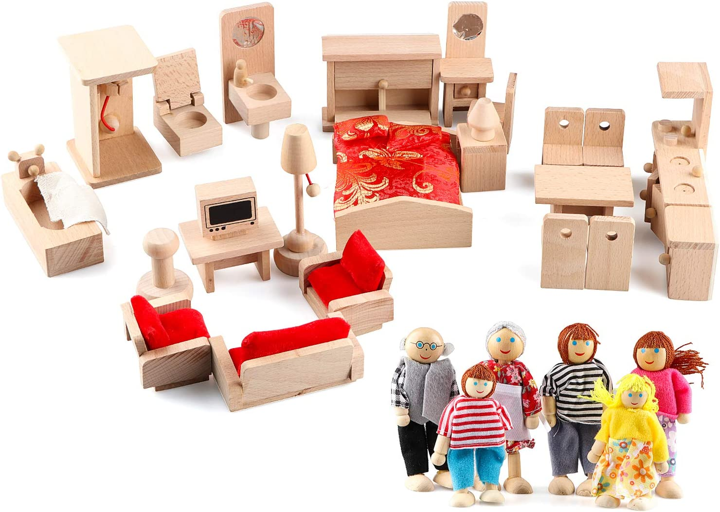 Gemileo 5 Set Dollhouse Furniture Accessories Wooden Bathroom/ Living Room/ Dining Room/ Bedroom/ Kitchen House Doll Decoration Pretend Play Kids Girls Toys
